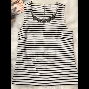 J. Crew Stripe Jeweled Necklace Shell Top